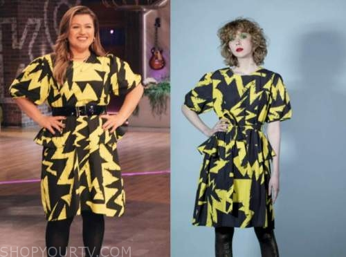 kelly clarkson, the kelly clarkson show, yellow and black printed dress