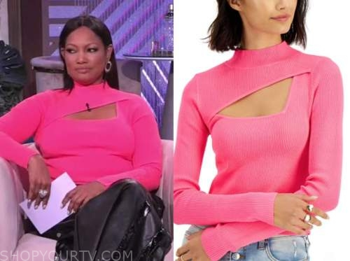 garcelle beauvais, the real, pink cutout knit top