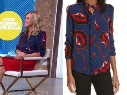 good morning america, blue and red blouse, lara spencer