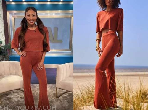 jeannie mai, the real, rust top and pants