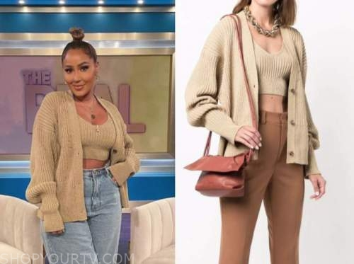 the real, adrienne bailon, gold metallic cardigan and crop top