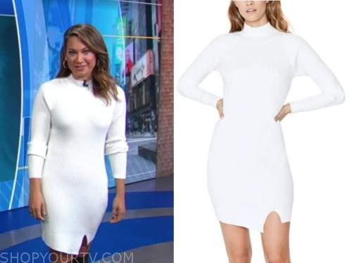 ginger zee, good morning america, white ribbed knit sweater dress