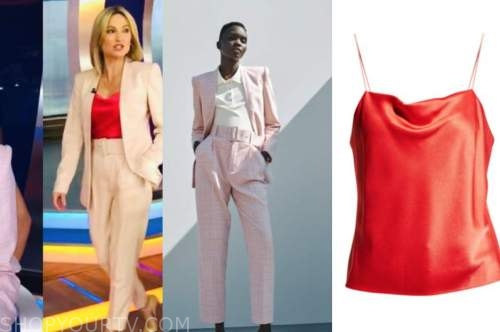 amy robach, good morning america, pink plaid pant suit, cowl drape top