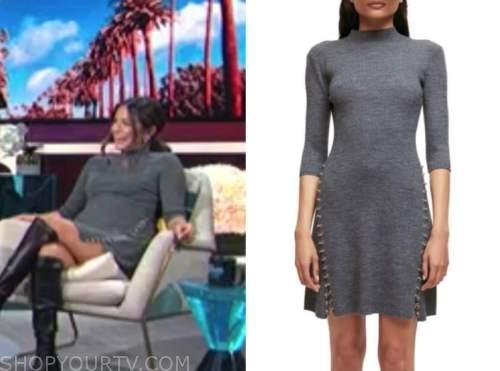 erin lim, grey chain knit dress, e! news, daily pop