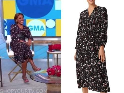 robin roberts, good morning america, black cat print midi dress