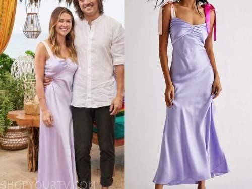 caelynn miller-keyes, bachelor in paradise, purple bow strap dress