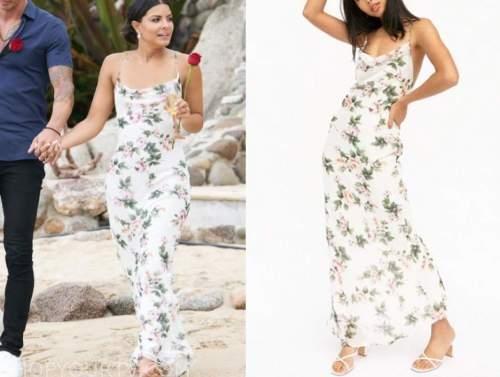 mari pepin, bachelor in paradise, white floral maxi dress