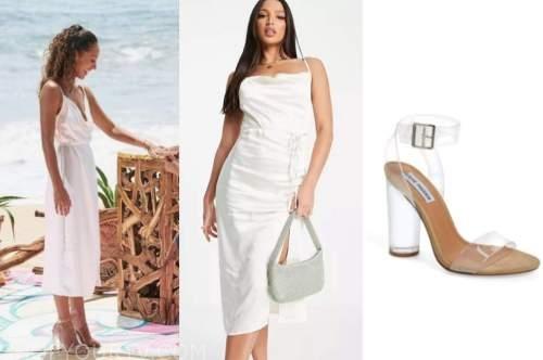 serena pitt, white dress, bachelor in paradise, clear sandals