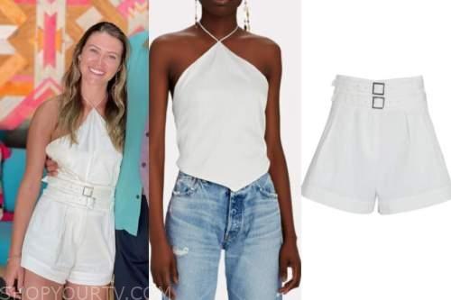 caelynn miller-keyes, bachelor in paradise, white halter top, white shorts