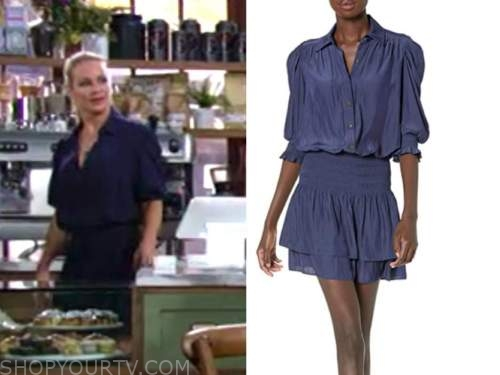 sharon newman, sharon case, blue dress, the young and the restless