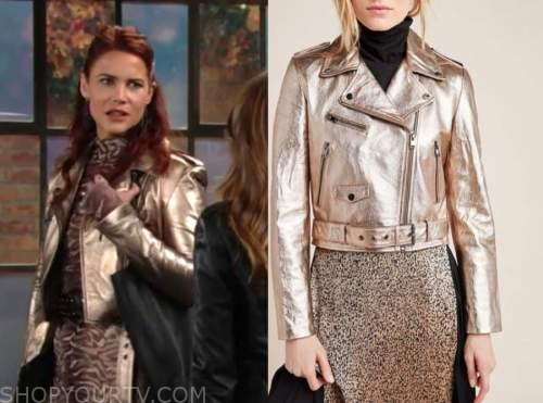 sally spectra, courtney hope, the young and the restless, gold jacket