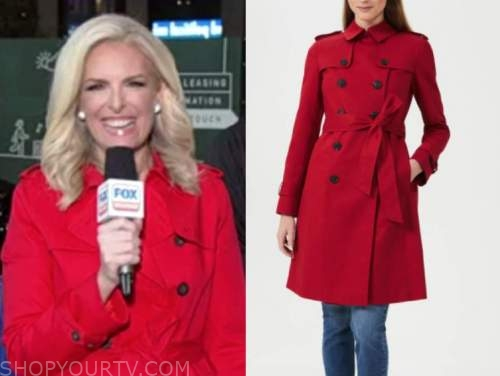 janice dean, fox and friends, red trench coat