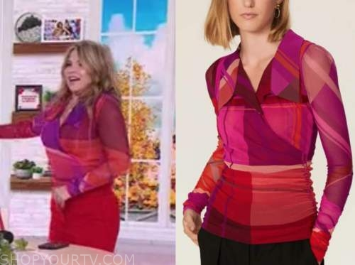 jenna bush hager, the today show, red and pink mesh top