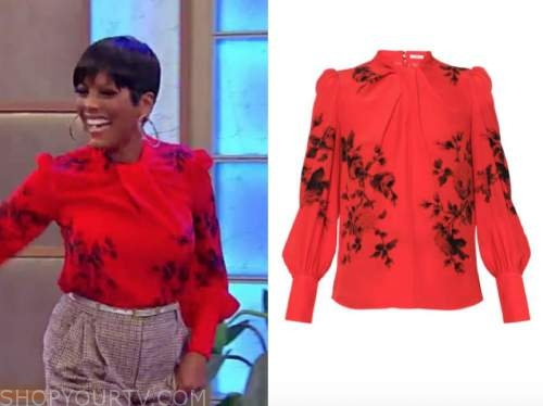 tamron hall, tamron hall show, red floral blouse