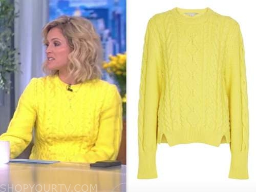 sara haines, the view, yellow cable knit sweater