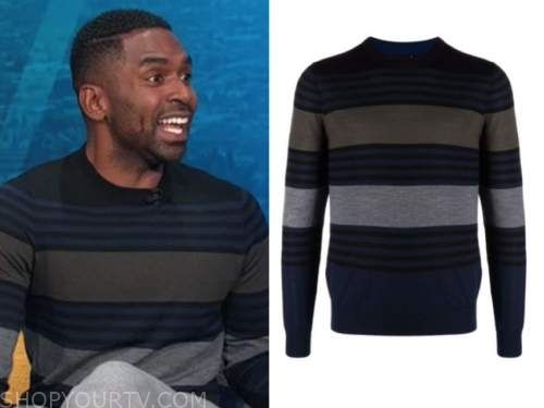 justin sylvester, E! news, daily pop, striped sweater