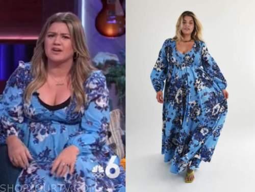 kelly clarkson, the kelly clarkson show, blue floral maxi dress