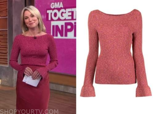 amy robach, good morning america, pink bell sleeve sweater top