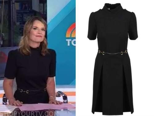 savannah guthrie, the today show, black mock neck belted dress