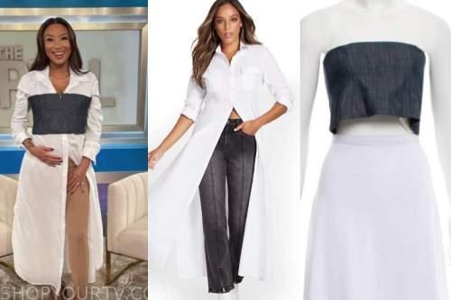 jeannie mai, the real, white shirt, denim crop top