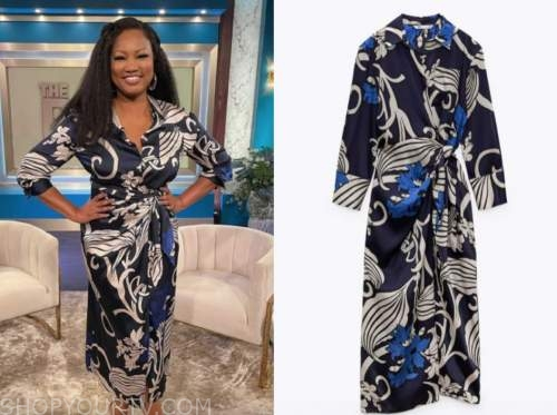 garcelle beauvais, the real, printed shirt dress