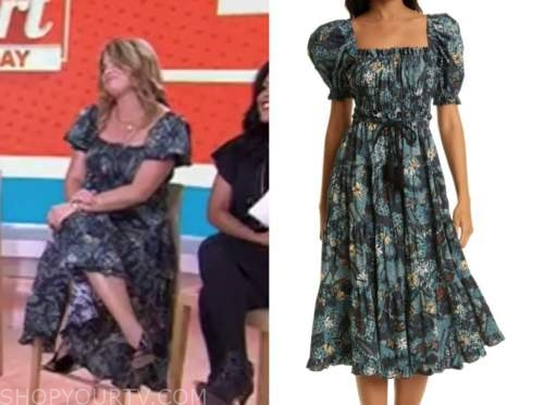 jenna bush hager, the today show, teal printed dress