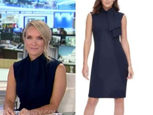 dana perino, america's newsroom, navy blue tie neck sheath dress