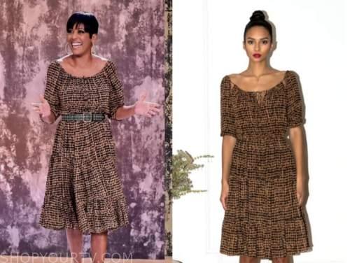 tamron hall, tamron hall show, brown printed dress