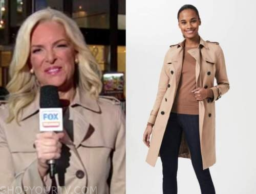 janice dean, fox and friends, beige trench coat
