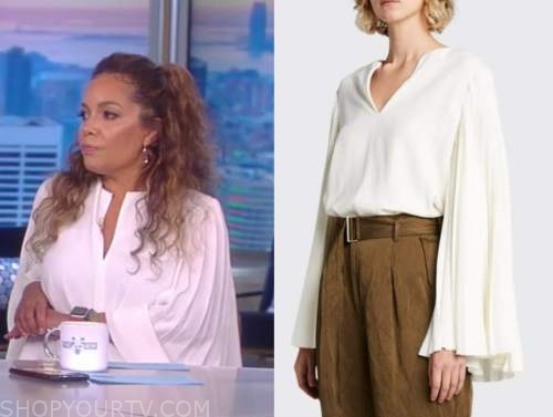 sunny hostin, the view, ivory pleated bell sleeve top