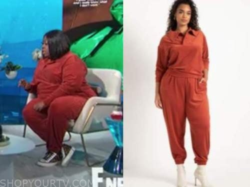 loni love, the real, red corduroy top and pants