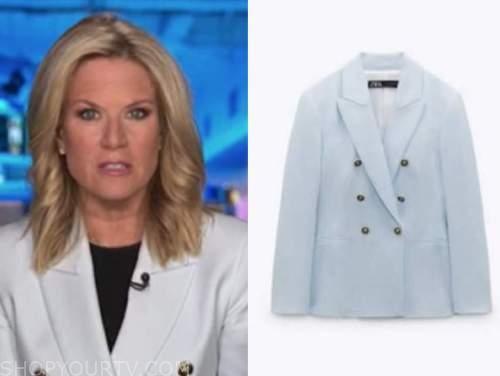 the story, martha maccallum, blue double breasted blazer