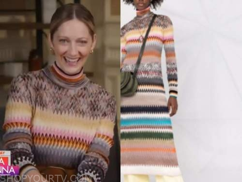 judy greer, the today show, zigzag striped knit turtleneck dress