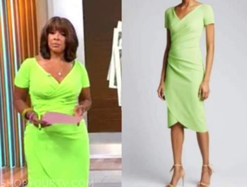 gayle king, cbs mornings, lime green wrap dress