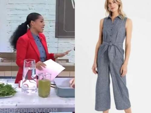 sheinelle jones, denim chambray jumpsuit, the today show