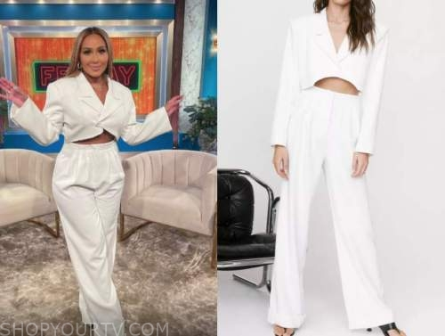 the real, adrienne bailon, white crop jacket and pants