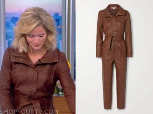 sara haines, the view, brown leather jumpsuit