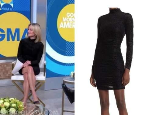 good morning america, black leopard turtleneck dress, amy robach