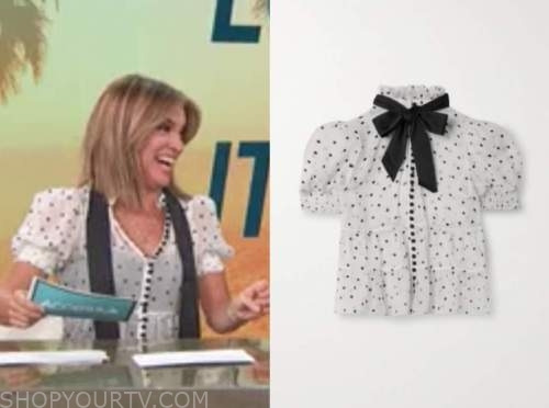 kit hoover, access daily, black and white polka dot top