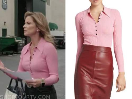 the talk, natalie morales, pink knit polo top