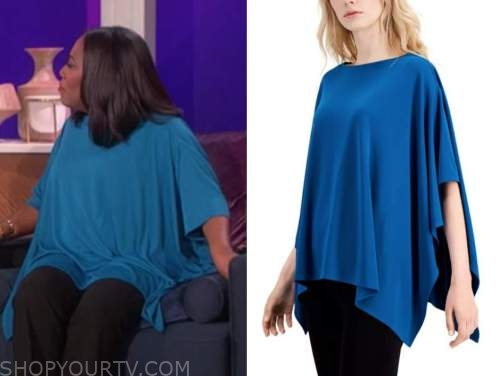 sheryl underwood, the talk, teal blue poncho top