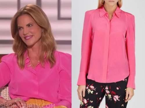 natalie morales, the talk, hot pink shirt