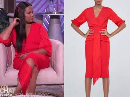 garcelle beauvais, the real, red knit top and red knit fringe skirt