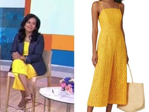 sheinelle jones, the today show, yellow lace jumpsuit