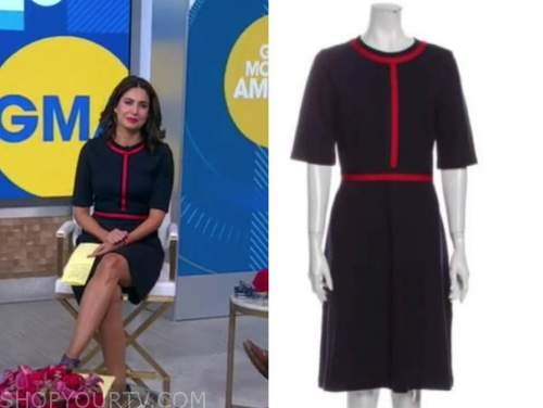 cecilia vega, good morning america, navy blue and red dress