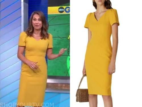 ginger zee, good morning america, yellow dress