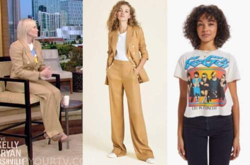 chelsea handler, live with kelly and ryan, beige pinstripe pant suit, band t-shirt