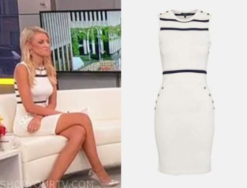 carley shimkus, outnumbered, knit striped dress