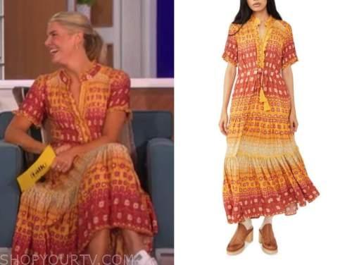 amanda kloots, the talk, orange and yellow printed midi dress