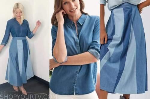 holly willoughby, this morning, denim shirt, denim patchwork midi skirt